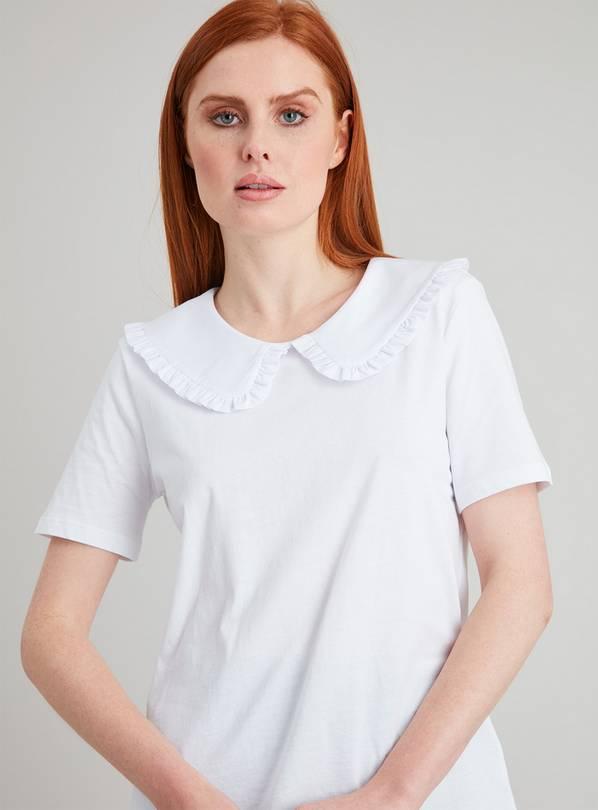 White Peter Pan Frill Trim Collar T-Shirt - 26