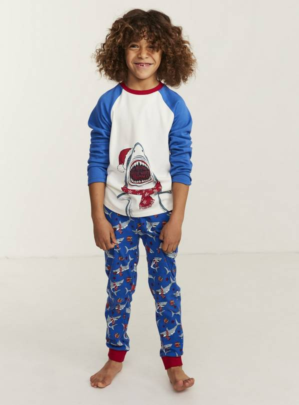 FATFACE Blue Shark Pyjama Set - 11-12 years
