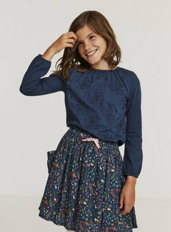 FATFACE Navy Embroidered Top - 11-12 years