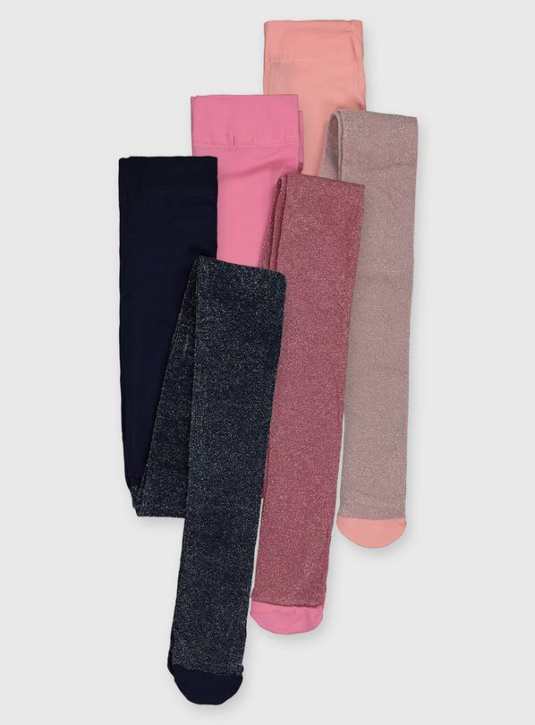 Navy & Pink Glitter Tights 3 Pack - 2-3 years