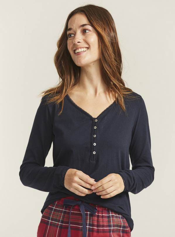 FATFACE Navy Lace Henley Top - 10