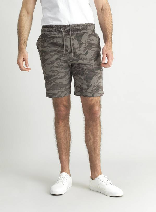 Camouflage Print Jersey Shorts - S