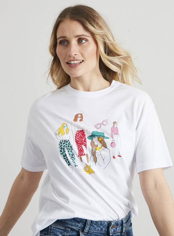 Arty Girl Sketch Graphic White Oversized T-Shirt - 18