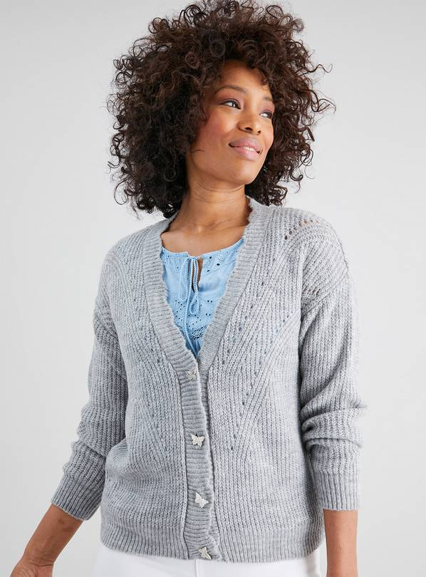 Grey Pointelle Scallop Detail Cardigan - 14