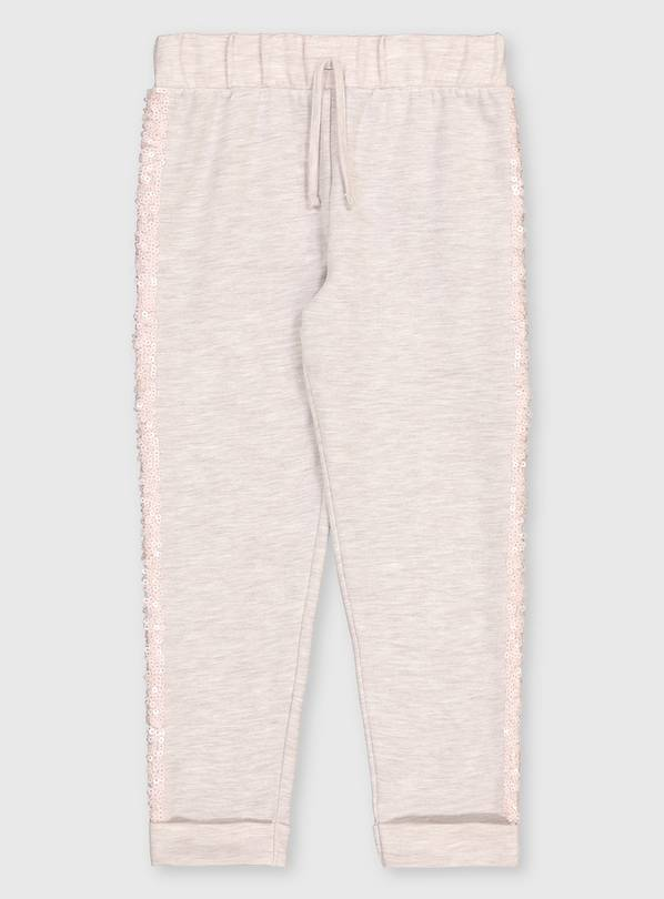 Cream Sequin Stripe Joggers - 4 years