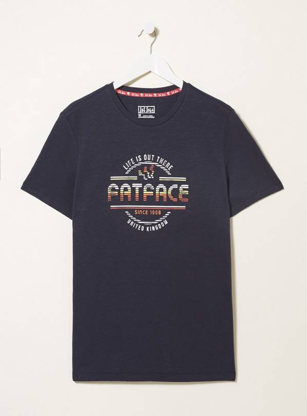 FATFACE Navy Logo Chest T-Shirt - L