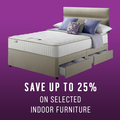 Save up to 25% on selected indoor furniture.