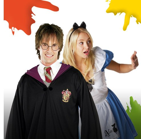 Adult fancy dress including Harry Potter and Alice in Wonderland.