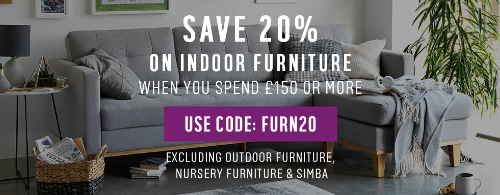 Save 20% on indoor furniture when you spend £150 or more. Use code: FURN20.