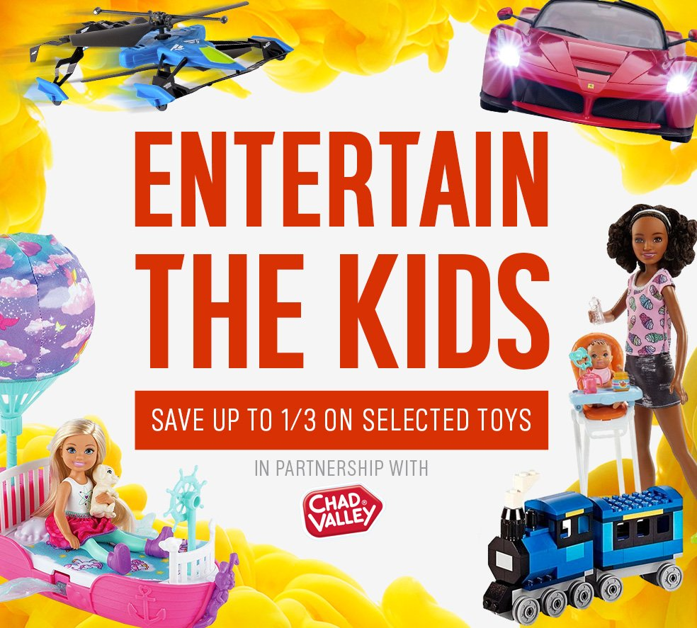 Entertain the Kids this half term. Save up to 1/3 on selected toys.