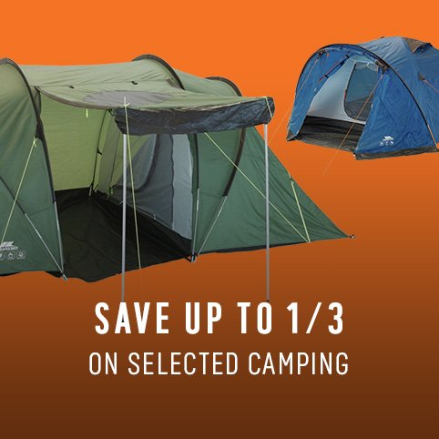 Save up to 1/3 on selected camping.