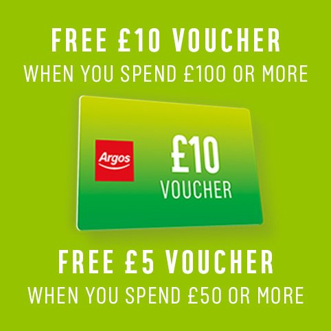 Free £10 voucher when you spend £100 or more or free £5 voucher when you spend £50 or more.
