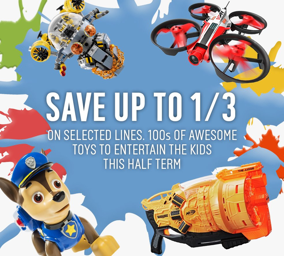 Press play. We've 100s of toys to entertain the kids this half-term, like Ninjago & Nerf.