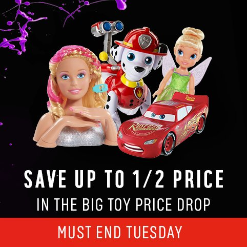 Save up to Half Price in the Big Toy Price Drop, with 100s of Prices Crashing. Must end Tuesday.