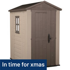 Keter Apex Plastic Beige & Brown Garden Shed - 4 x 6ft Best Price, Cheapest Prices
