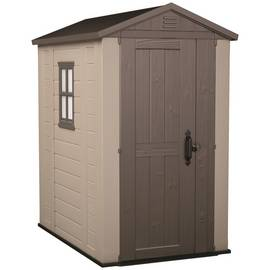 Keter Plastic 4 x 6ft Apex Garden Shed - Beige and Brown Best Price, Cheapest Prices