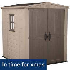 Keter Apex Plastic Beige & Brown Garden Shed - 6 x 6ft Best Price, Cheapest Prices