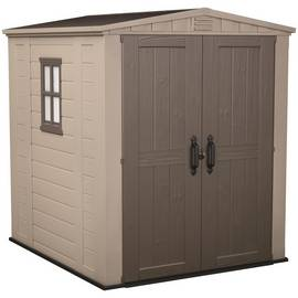 Keter Apex Plastic Beige & Brown Garden Shed - 6 x 6ft