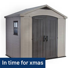 Keter Apex Plastic Beige & Brown Garden Shed - 8 x 6ft Best Price, Cheapest Prices