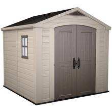 Keter Apex Plastic Beige & Brown Garden Shed - 8 x 8ft Best Price, Cheapest Prices
