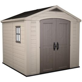 Keter Factor Apex Garden Storage Shed 8 x 8ft – Beige/Brown