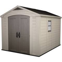 Keter Apex Plastic Beige & Brown Garden Shed - 8 x 11ft Best Price, Cheapest Prices