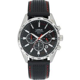 Lorus Men's Black Leather Strap Chronograph Watch