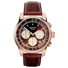 Sekonda Classique Men's Brown Leather Chronograph Watch