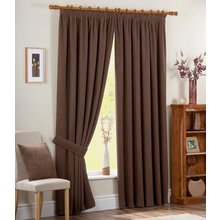 Chenille Spot Thermal Backed Curtains - 168 x 229cm - Choc
