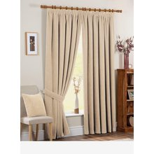 Chenille Spot Thermal Backed Curtains - 168 x 229cm - Cream