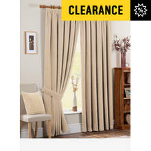 Chenille Spot Thermal Backed Curtains - 229 x 229cm - Cream