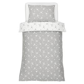 Argos Home Grey Brushed Cotton Star Bedding Set - Single
