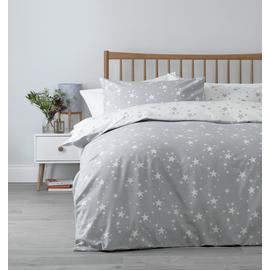 Argos Home Grey Brushed Cotton Star Bedding Set - Kingsize