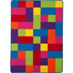 more details on ColourMatch Kids' Large Block Rug - 140 x 100cm - Multi.