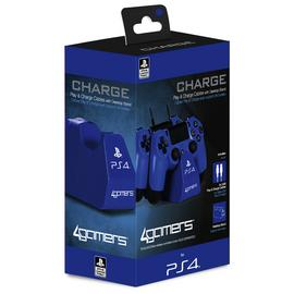 PS4 Twin Play & Charge Cables & Stand - Blue