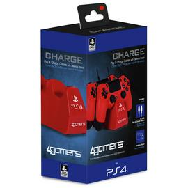 PS4 Twin Play & Charge Cables & Stand - Red