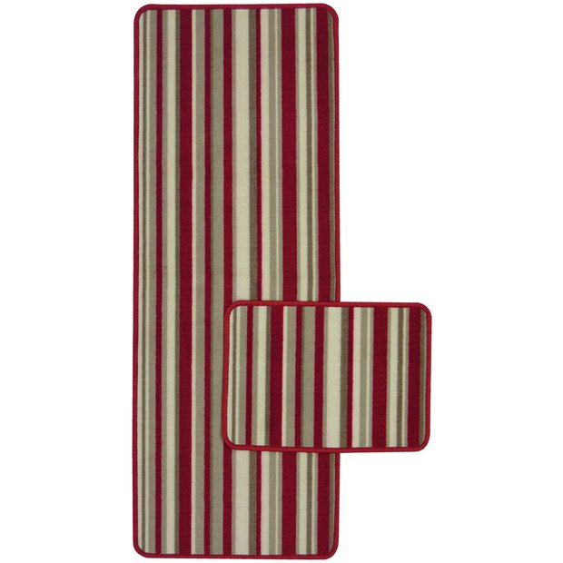 Buy Central Park 57x100cm Runner And 57x40cm Mat Red At
