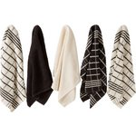 more details on HOME Pack of 5 Terry Tea Towels - Black/Natural.