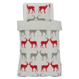 Argos Home Teddy Fleece Reindeer Bedding Set - Single
