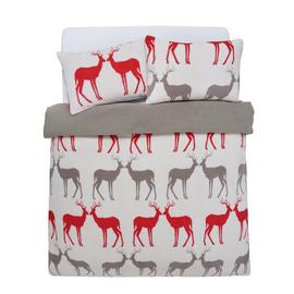 Argos Home Teddy Fleece Reindeer Bedding Set - Double