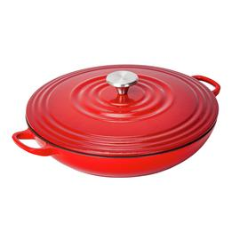 Argos Home 3 Litre Cast Iron Shallow Casserole Dish - Red