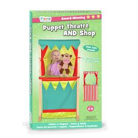 Fiesta Crafts Puppet Theatre and 2 Hand Puppets Set