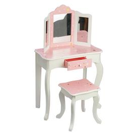 Teamson Kids Star Print Toy Vanity Set - Pink & White
