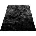 more details on Perky Brush Silk Touch Shaggy Rug - Black - 120 x 170cm.