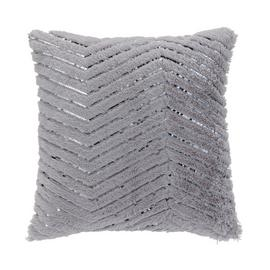 Argos Home Fur ZigZag Metallic Cushion - Grey & Pink