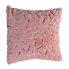 Argos Home Fur Speckled Metallic Cushion - White & Pink