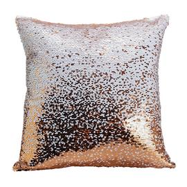 Argos Home Sequin Cushion - Black & Pink