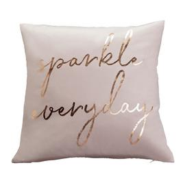 Argos Home Sparkle Everyday Velvet Cushion - Pink