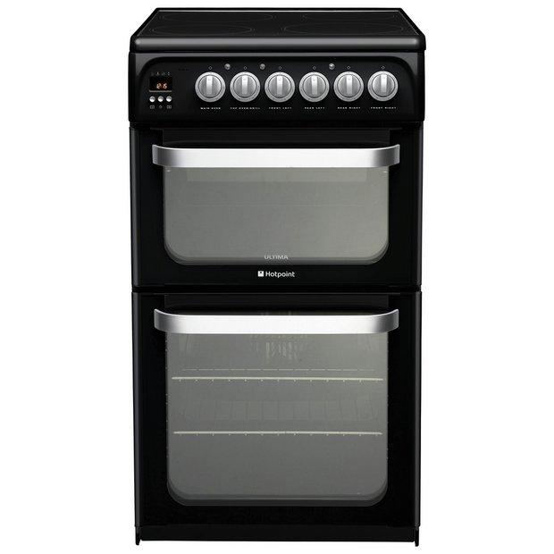 buy hotpoint hue52ks double electric cooker black at. Black Bedroom Furniture Sets. Home Design Ideas