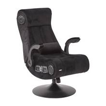 X-Rocker Deluxe Chenille Pedestal Gaming Chair - Black